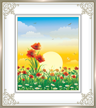 silver grass: Greeting card with poppies against the sunset in a frame with an ornament Illustration