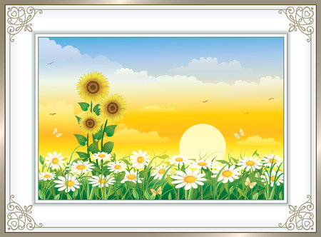 silver grass: Flower meadow with daisies and sunflowers