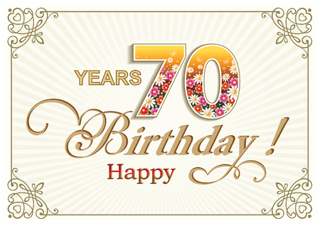 70 years: Greeting card birthday 70 years against the backdrop of the suns rays in a frame with an ornament