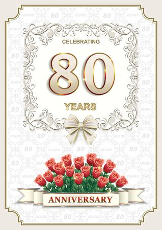 flower age: postcard 80 anniversary with a bouquet of roses Illustration