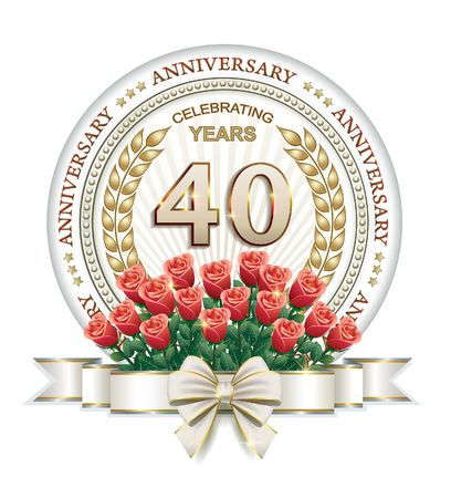 40 years: Anniversary card 40 years with roses