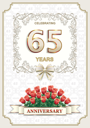 65: 65 years Anniversary card with roses