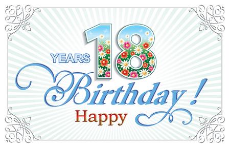 グリーティング カード誕生日 18 歳  イラスト・ベクター素材