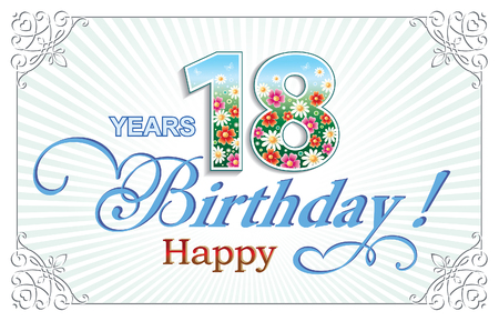 18: Greeting card birthday 18 years Illustration