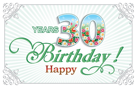 30 years: Greeting card birthday 30 years Illustration