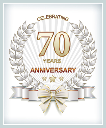 70 years: Anniversary 70 years with a laurel wreath and a beautiful ribbon with a bow