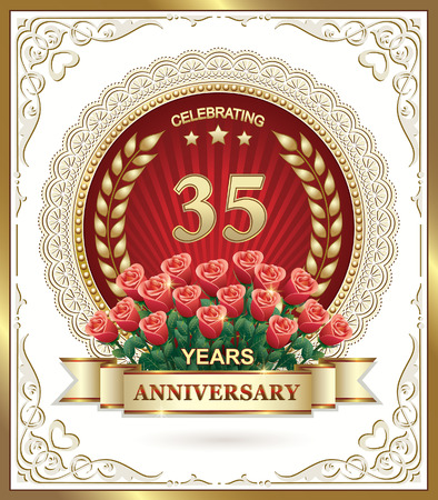 35: 35 years Anniversary card with roses