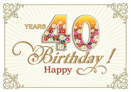 40: Greeting card birthday 40 years
