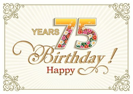 celebration card: Greeting card birthday 75 years
