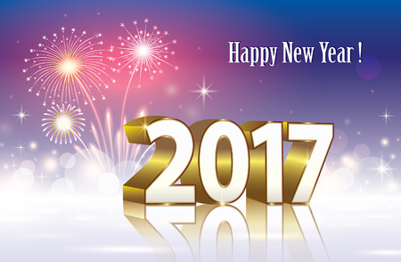 season s greeting: Happy New Year 2017 on a background of fireworks Illustration