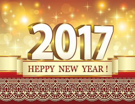 season s greeting: Postcard Happy New Year on the luminous background