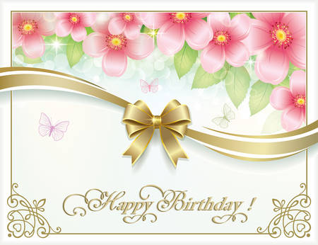 postcard background: Postcard Happy Birthday with floral background Illustration