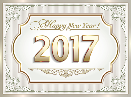 new year s card: Postcard Happy New Year 2017 in frame with an ornament Illustration
