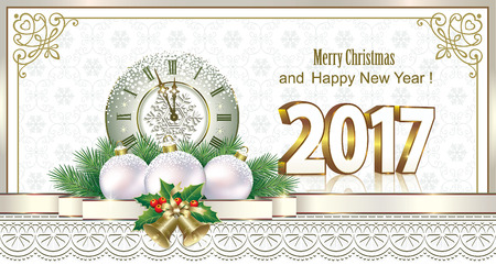 Merry Christmas and New Year 2017 with a clock on the background of snowflakes