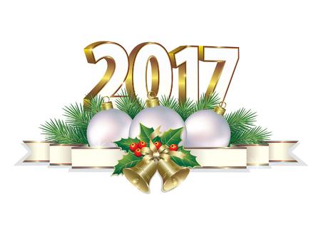 nombre d or: Joyeux Noël et Nouvel An 2017 Illustration