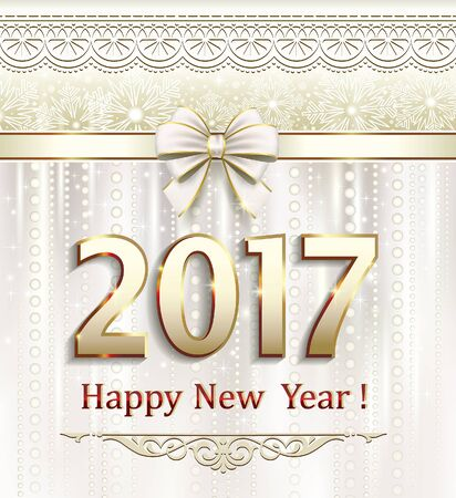 Merry Christmas and Happy New Year 2017 on a beautiful background with a decorative bow