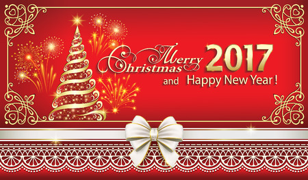 Merry Christmas and Happy New Year 2017 with a Christmas tree and fireworks