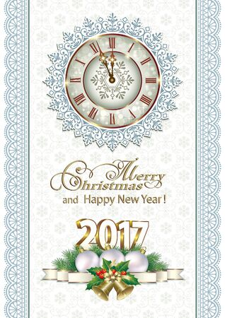 Merry Christmas and Happy New Year 2017 with clock