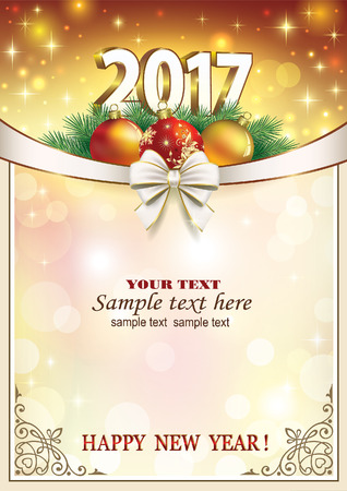 New Year 2017. Christmas card with bow and shining background.
