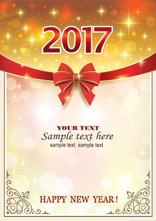 2017 Christmas background with red ribbon and bow