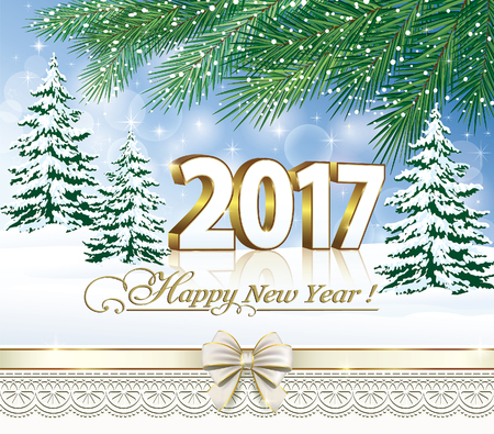 happy new year text: Postcard Happy New Year 2017 on a background of nature