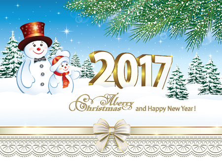 happy holidays card: Merry Christmas and Happy New Year 2017 Illustration