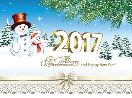 Wesołych Świąt i Szczęśliwego Nowego Roku 2017 Ilustracje wektorowe