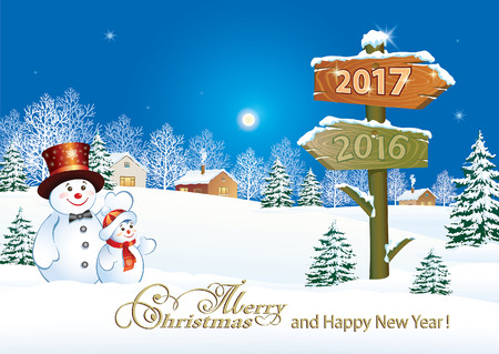 Merry Christmas and Happy New Year 2017 Vectores