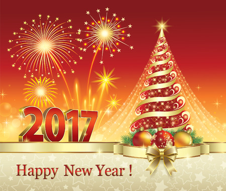 seasons greeting card: Happy New Year 2017