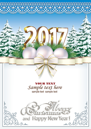 new year eve: Merry Christmas and Happy New Year 2017 Illustration