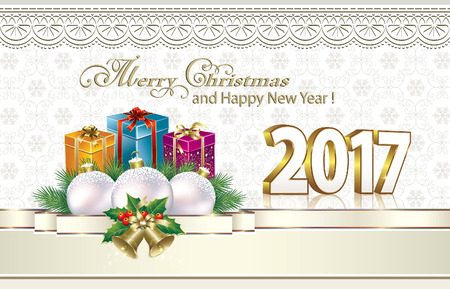Merry Christmas 2017. Greeting card with colorful gift boxes Çizim