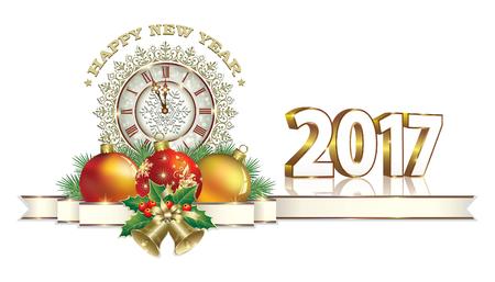 Glückliches neues Jahr 2017. Weihnachtskarte mit Kugeln und Uhr