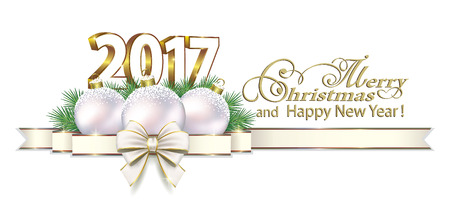 Merry Christmas and Happy New Year 2017 on a white background