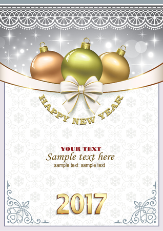 happy new year banner: Happy New Year 2017. Christmas background Illustration