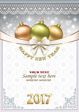 Happy New Year 2017. Christmas background Illustration