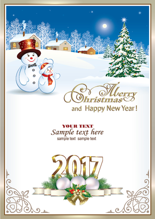 new year celebration: 2017 Christmas tree with snowmen on a winter landscape