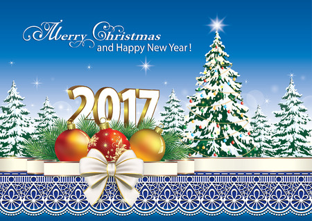 new year decoration: Merry Christmas and Happy New Year 2017. Christmas tree