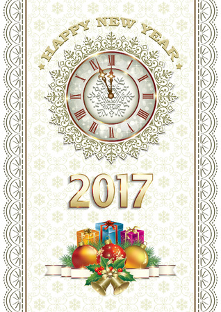 celebrate year: Merry Christmas and Happy New Year 2017 Illustration