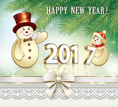 christmas time: Happy New Year 2017 with funny snowmen