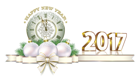 Happy New Year 2017 on a white background with the clock, a balls and a bow Vectores