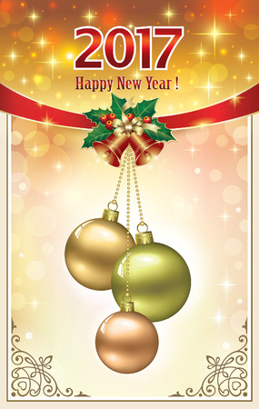 Postcard Happy New Year 2017 with balls and bells in a frame with an ornament