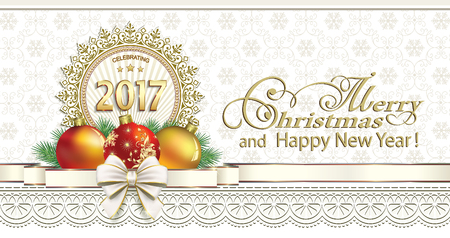 postcard: Postcard Happy New Year 2017 with ball and a ribbon with a bow on a background ornament Illustration