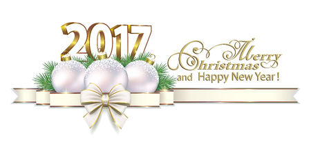 postcard background: Postcard 2017 New Year on a white background Illustration
