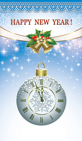 Postcard Happy New Year 2017 with clock and bells Stock Illustratie