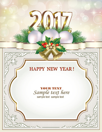 postcard: Postcard Happy New Year 2017 with ball and bells in a frame with an ornament