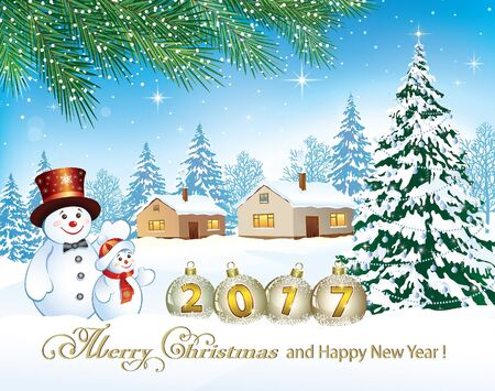 snow landscape: 2017 Christmas card with a snowman and Christmas tree