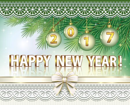 postcard background: Postcard Happy New Year on the background of fir branches