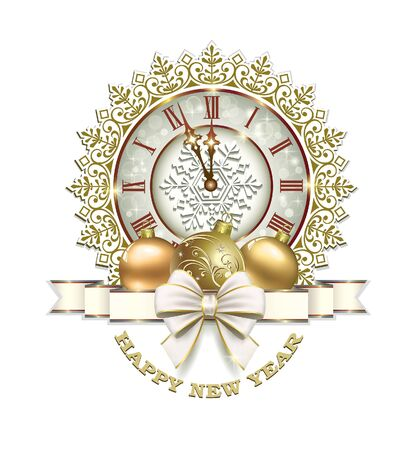 Christmas card with clock, ball and ribbon with a bow on a white background Vectores
