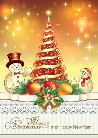 Christmas card with a snowman on the background of the Christmas tree and ornament