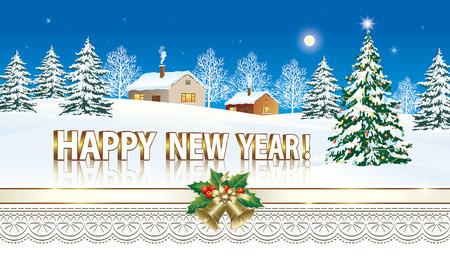 Merry Christmas and a Happy New Year Vektoros illusztráció